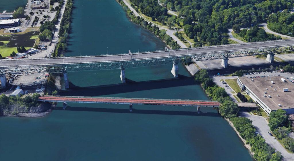 Vue aérienne du pont de l'Expo-Express